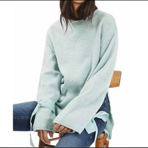 Topshop petite bow tie sleeves sweater